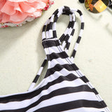 2017 New Hot Black White Navy Striped Padded Strap Monokini Sexy High Cut Bandeau Backless Swimwear One Piece Swimsuit