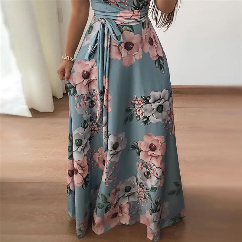 Women Long Maxi Dress 2019 Summer Floral Print Boho Style Beach Dress