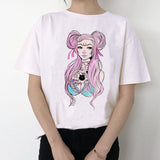 Women Harajuku Short Sleeve Fun Ulzzang T-Shirt Cute Cat Tshirt Cartoon Top Tees Female