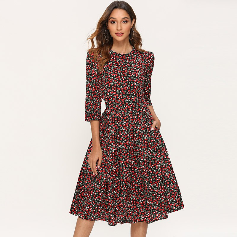 Women A Line Elegant Dress  Floral Print Vintage Midi Dress Three Quarter Sleeve O-neck Party Dress Ladeis Dresses Vestidos
