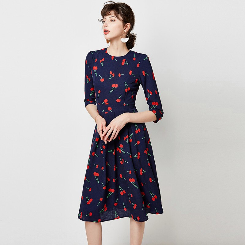 Cherry Print Women Autumn Elegant A Line Dress Three Quarter Sleeve Midi Party Dress
