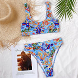 High Waist Bikini Push Up Swimwear Women Dragon Printed Sexy Bikini Set Retro Swimsuit