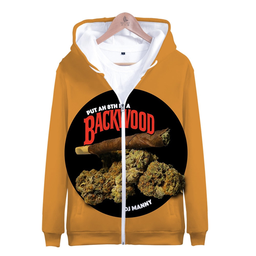 Backwoods Hooded Snow Eggplant 3D Digital Printing Cool Men and Women Zipper Hooded Hip Pop Sweatshirt Cusual Fashion Coats