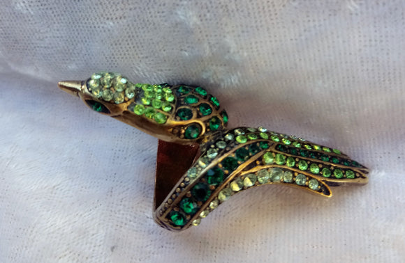 Vintage Brass Peacock with crystals
