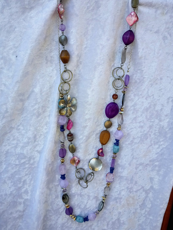 Chunky Amethyst, Turquoise Stone Necklace on Sterling Silver Chain & Free Fun Hippy Boho Necklace