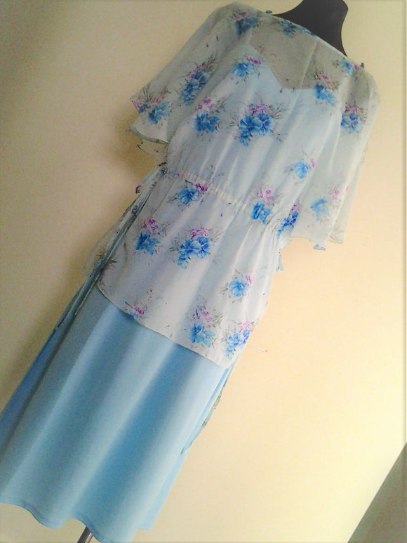 70s Light Blue Maxi Dress with Floral Overlay Bridesmaid Dress  Australian Size 14