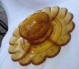 Vintage Pressed Glass Amber Serving Platter with Dipping Bowl