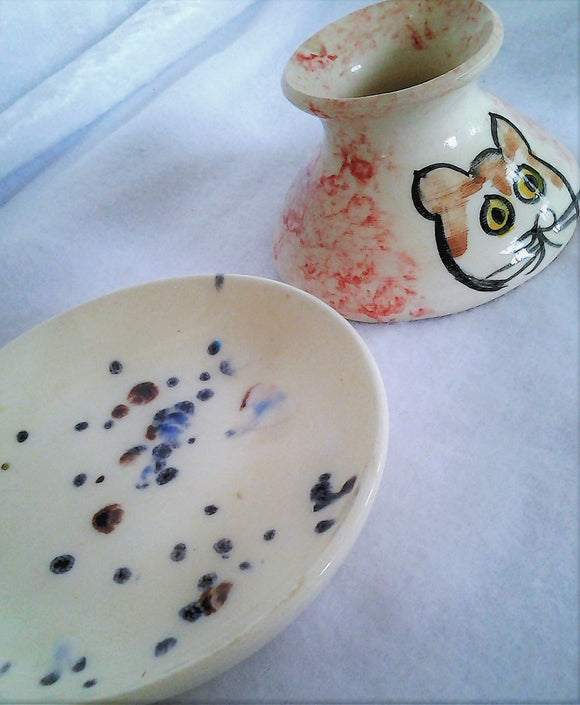 Studio Pottery Hand Painted Cat Vase and Speckled Dish