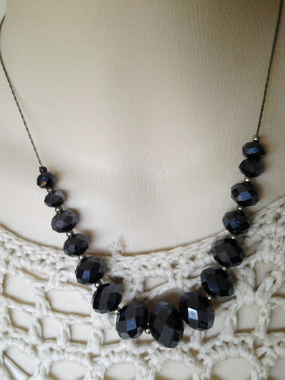 Vintage Sterling Silver and Blue Aurora Crystal Necklace