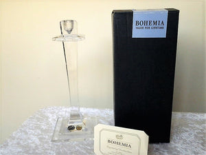 Wedding Bohemia 24% Lead Crystal Candlestick in Box with Paperwork