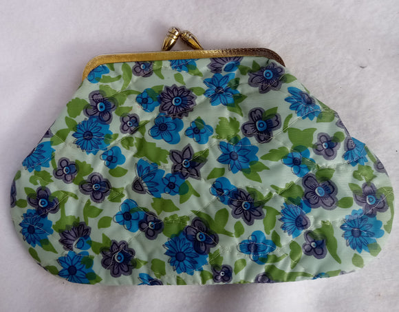 1960s Lined Floral Makeup Purse