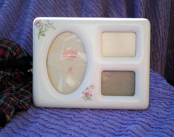 Vintage Ceramic Photo Frame with three windows - 1980's