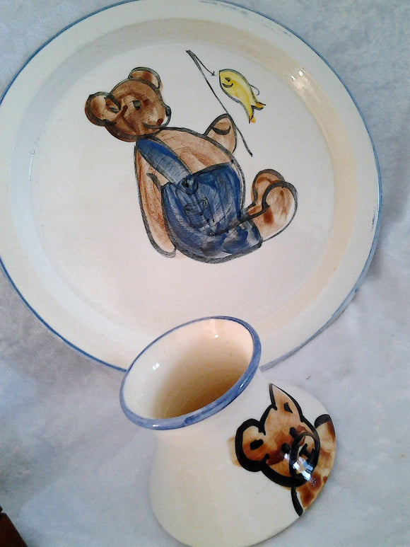 Vintage Stoneware Australian crafted Teddy Bear Clay Childrens Plate and matching Vase Signed