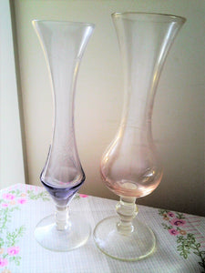 Etched Pink and Amethyst Blown Glass Vases  - Vintage