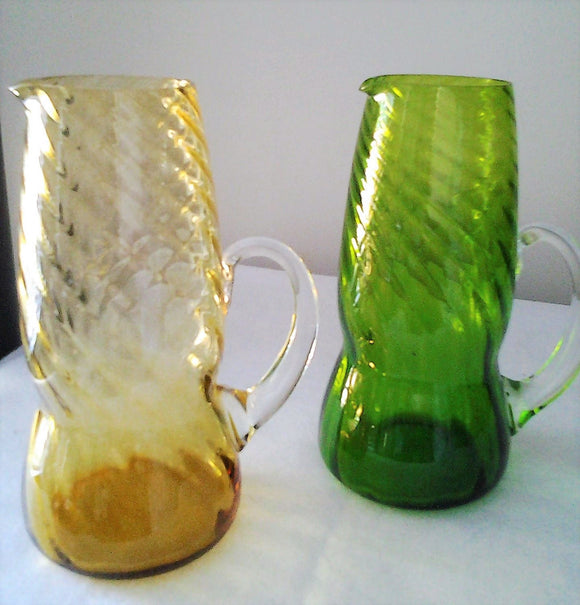 Retro Amber & Green Glass Ewer Vases Twisted Glass with Clear Handle