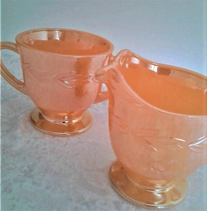 1950's Fire King Lustreware Creamer and Sugar Bowl
