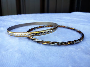 Vintage Etched and Twisted Two Tone Bangles