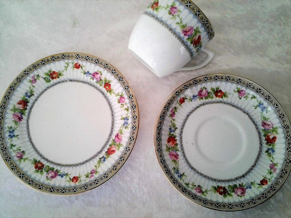 Vintage Jackson & Gosling Trio Tea Cup Set Grovenor - Side plate and Tea cup and Saucer
