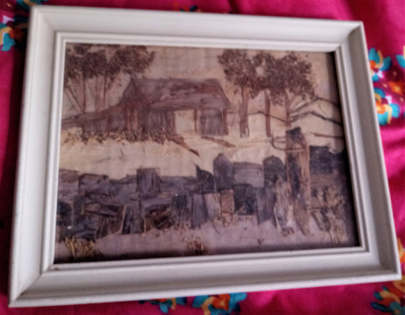 Vintage Hand Crafted Bark Picture Framed Country Life