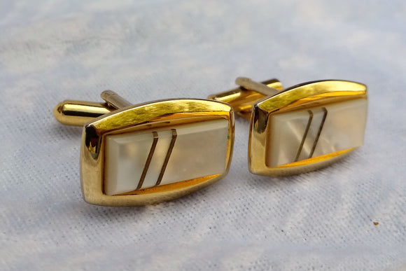 Vintage Gold Cufflinks with Mother of Pearl