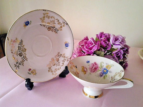 Vintage Winterling Bavaria Chintz Footed Tea Cup and Saucer - Gold Gilded