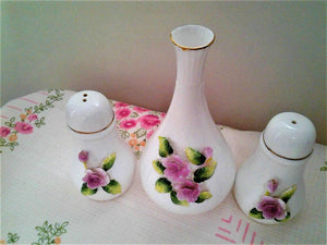 Lefton Salt Pepper & Vase Set - Porcelain Flowers