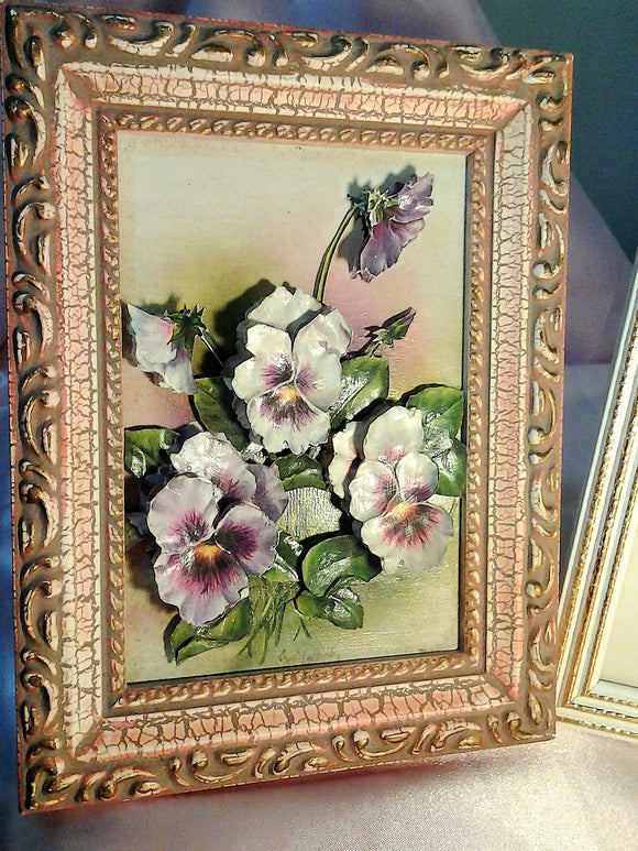 Shabby Chic Framed Hand Painted Decoupage 3D Purple Pansies - Artist signed