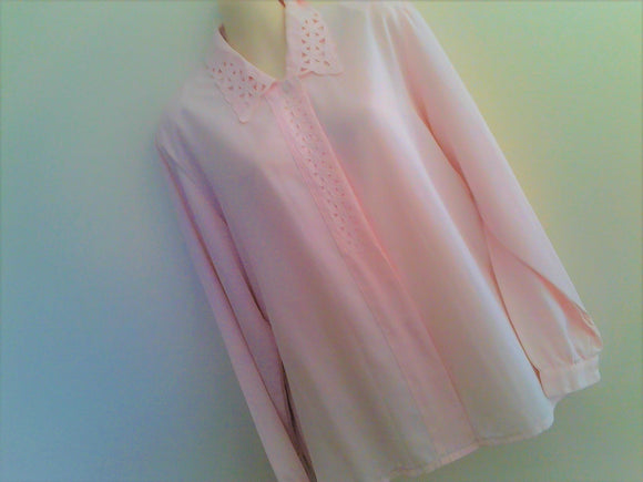 Vintage Pale Pink Long Sleeved Blouse - Size 12/14/16