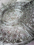 Vintage Crystal Cut Starburst Divided Platter - Five Sections