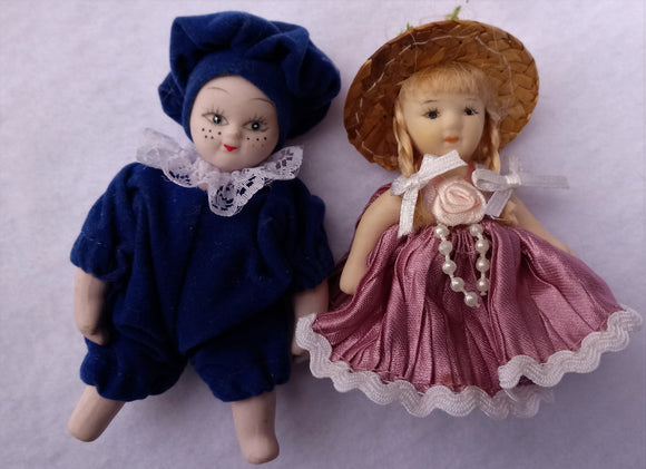 1980s Pair Miniature Articulated Porcelain Dolls
