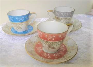 Fine China Demitasse Japanese Teacup and Saucers Set of three