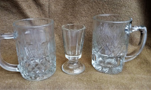 Pair 1960's Cut Glass Handled Beer Mugs and Shot Glass