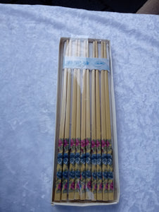 Vintage Set Ten Pairs Wood Chopsticks  Floral