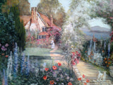 Detailed Painting Gorgeous Country Cottage Garden