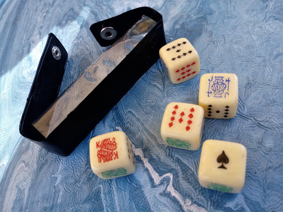 1960s Bakelite Poker Gambling Dice Set of five