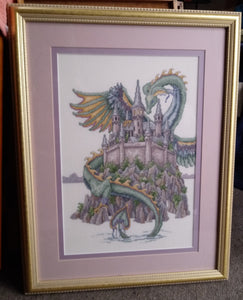 Vintage Cross Stitch Castle and Dragon Framed Large Wall Hanging