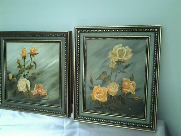 Two 1978 Roses Paintings by Shirley A Booth