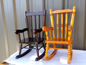 Vintage Pair French Wooden Dolls Rocking Chair