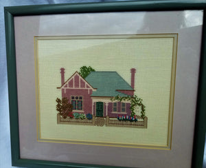 Vintage Country Cottage Framed Cross Stitch Hanging