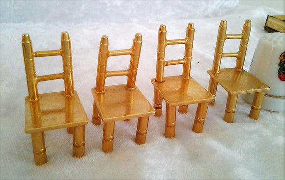 Vintage Gold Plated Miniature Chairs