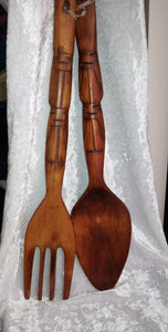Vintage Oversized Carved Wooden Spoon and Fork