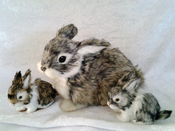 Vintage Real fur Rabbit Mother and Babies Figurines