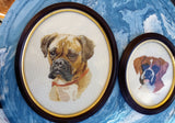 1980's Cross Stitched Dogs in Bakelite Oval Frames