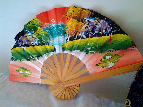 Vintage Hand Painted Asian Hand Fan