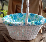 1960s Large Oval White Wicker Basket