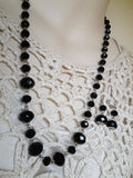 Jet Necklace and Earring Set