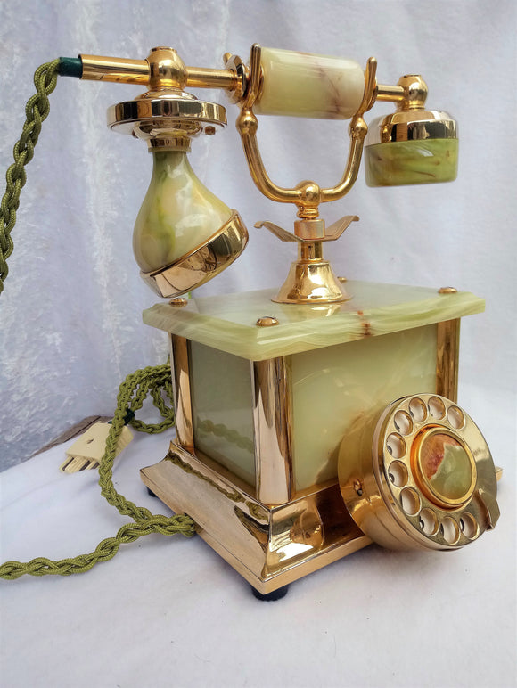 Working Green Onyx Marble with Brass Rotary Dial Telephone 1990s Telstra Replica