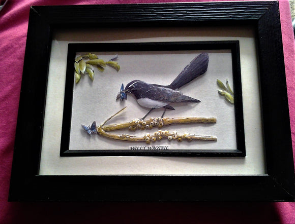 Framed Handcrafted 3D Paper Tole Willy Wagtail Bird