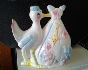 Vintage Ceramic New Baby Stork Gift Basket Nursery Decor Storage