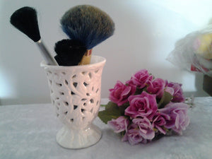 Vintage Creamy Porcelain Cutout Vine Goblet - Makeup Brush Holder Slight lustre